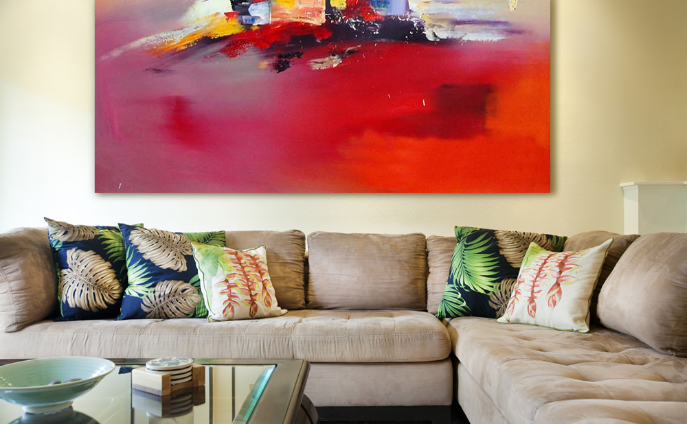Pinturas abstractas cuadros para interiorismo con color for Cuadros al oleo para decorar salones