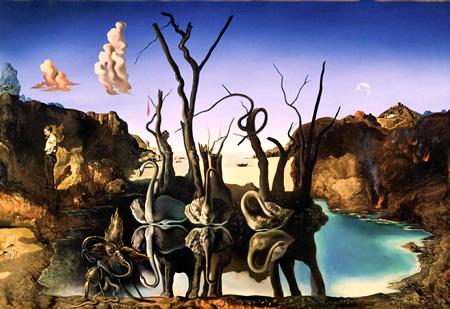 Salvador Dalí, cuadros al óleo, pintor surrealista. Cisnes-reflejo-elefantes-dali