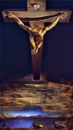 Salvador Dalí, cuadros al óleo, pintor surrealista. Cristo-san-juan-cruz-dali
