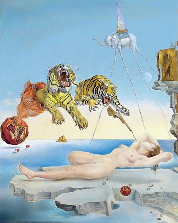 Salvador Dalí, cuadros al óleo, pintor surrealista. Cuadro-sueno-abeja-granada-dali