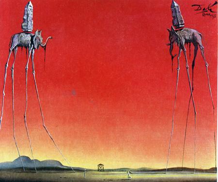 Salvador Dalí, cuadros al óleo, pintor surrealista. Los-elefantes-dali
