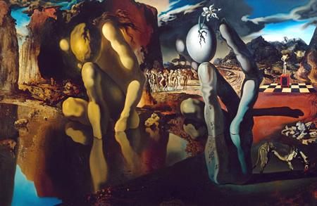 Salvador Dalí, cuadros al óleo, pintor surrealista. Metamorfosis-narciso-dali