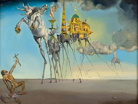 Salvador Dalí, cuadros al óleo, pintor surrealista. Tentacion-san-antonio-dali-cuadro