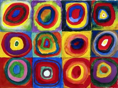 Wassily Kandinsky, obras de arte colorido, pintor ruso Estudio-color-cuadrados-kandinsky