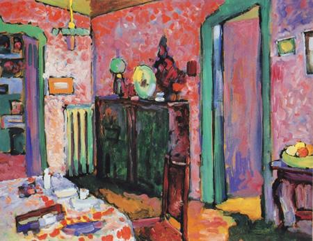 Wassily Kandinsky, obras de arte colorido, pintor ruso Interior-comedor-kandinsky