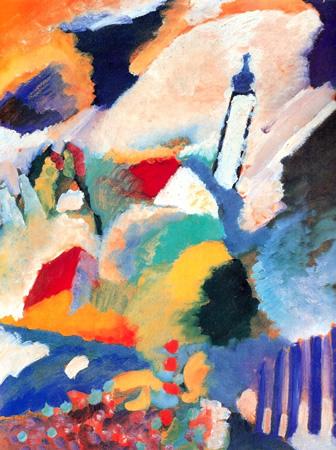 Wassily Kandinsky, obras de arte colorido, pintor ruso Murnau-iglesia-kandinsky