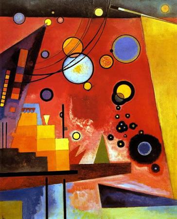 Wassily Kandinsky, obras de arte colorido, pintor ruso Rojo-pesado-kandinsky