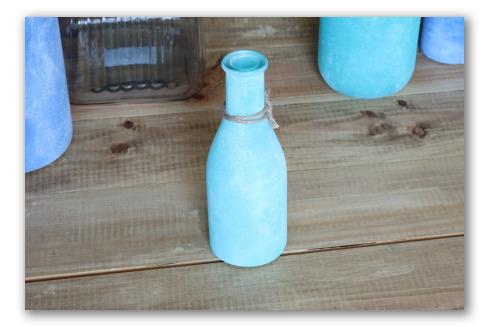 Botellita color aguamarina