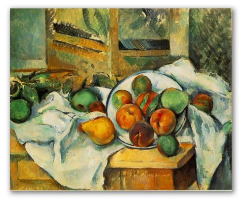 """Cuadro """"Mesa, mantel y fruta"""""""