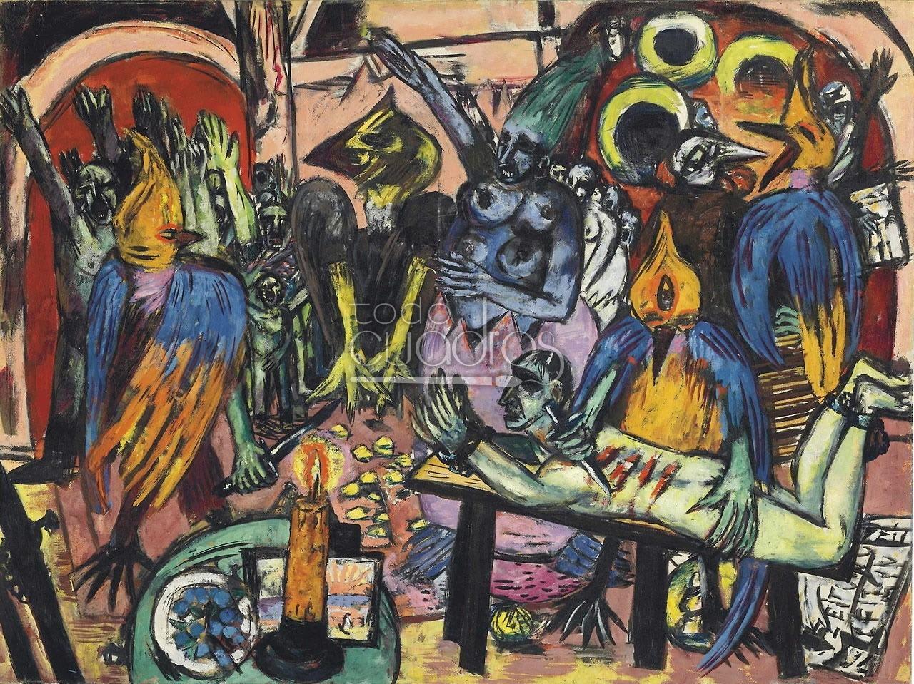 """Cuadro """"El infierno de los pájaros"""", óleo expresionista de Beckmann."""