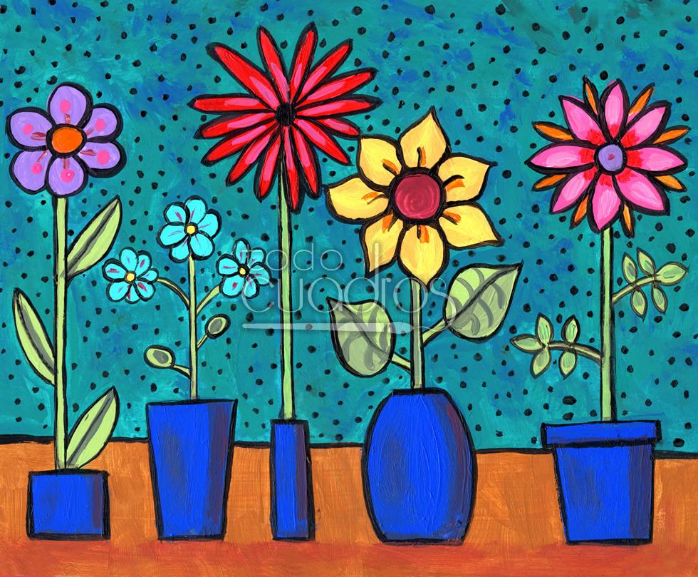 Cuadro florecillas pintura para decoraci n infantil - Cuadros abstractos para ninos ...