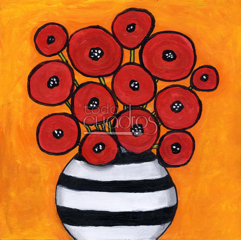 Cuadro de flores para ni os arte infantil para decoraci n - Cuadros abstractos para ninos ...