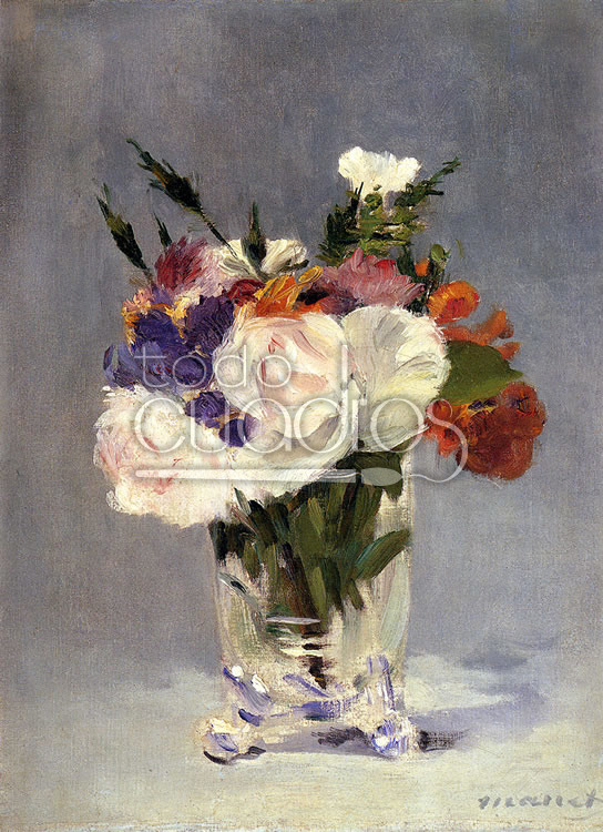 Flores en Jarrón de Cristal\