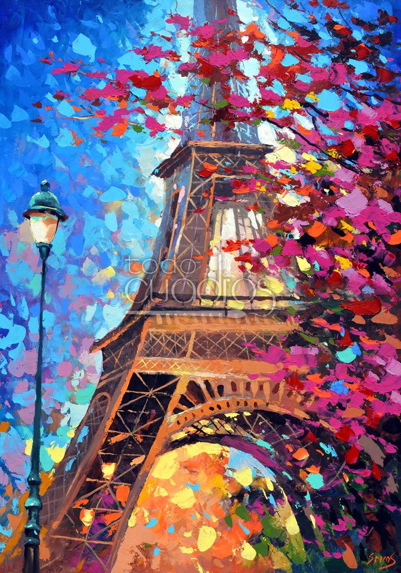 Cuadro par s en primavera cuadro moderno de ciudad - Como pintar un cuadro moderno ...