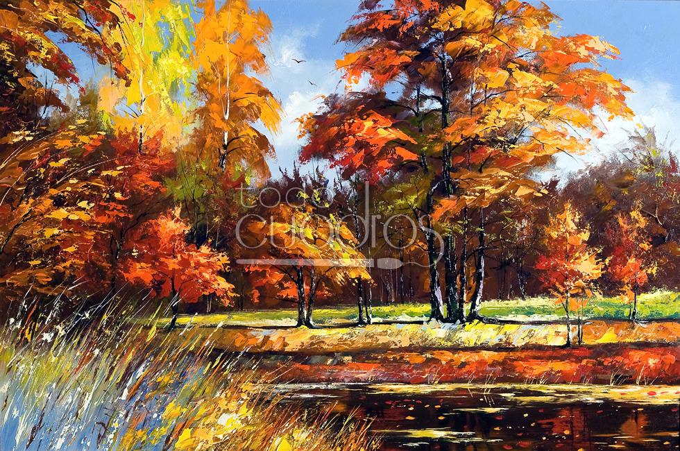 Cuadro Otoño, paisaje campestre al estilo impresionista.