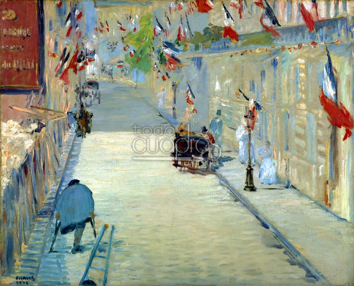 Cuadro la rue de mosnier con banderas de manet obra - Baneras de obra ...