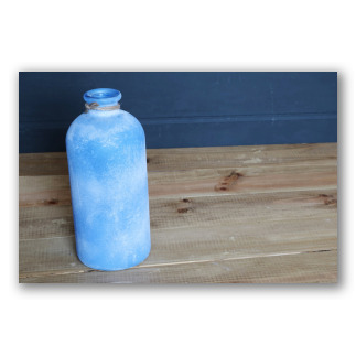 Botella mediana azul sin cuello