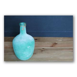 Botella abombada de vidrio verde oliva Santorini. D1004