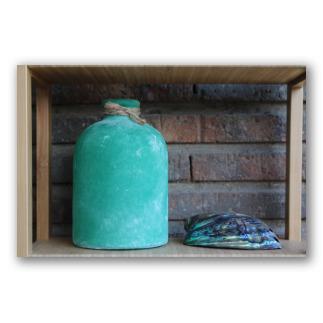 Botella de vidrio verde oliva sin cuello Santorini. D1005