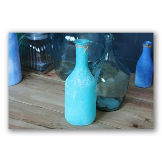 Botella cuello largo de vidrio aguamarina Santorini. D1006