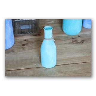 Botellita de vidrio color aguamarina Santorini. D1007