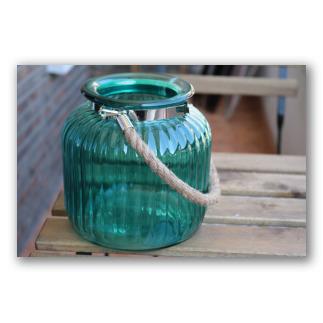 Frasco de cristal con asa de cuerda, retro glass. D1104