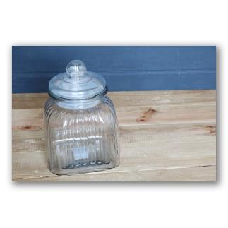 Frasco de caramelos vintage de cristal con tapa. Retro glass D1105