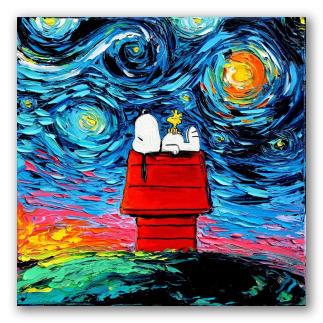 Snoopy en la noche estrellada