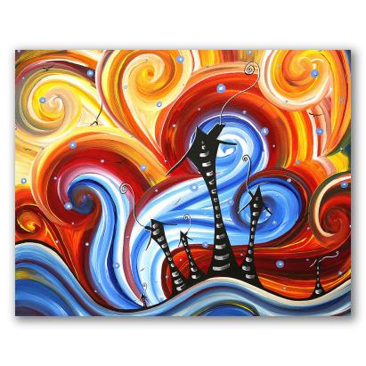 Casas, agua y viento. Arte sicodélico